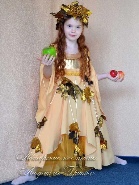 авторский костюм осень золотая для девочки фото
