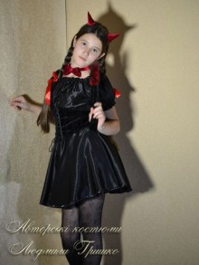 костюм чертика для девочки фото с галстуком и рожками