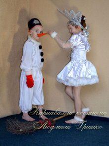 костюм снежинка и снеговик с носом фото