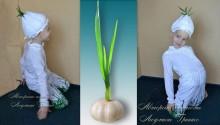 фото коллаж авторского костюма чеснока для праздника осени и урожая