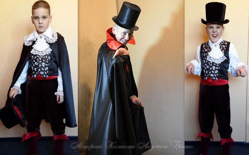 плащ вампира и цилиндр фото коллаж взрослого и детского костюмов