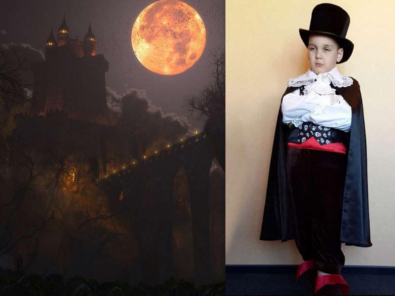 плащ вампира и цилиндр фото коллаж детского костюма на фоне замка