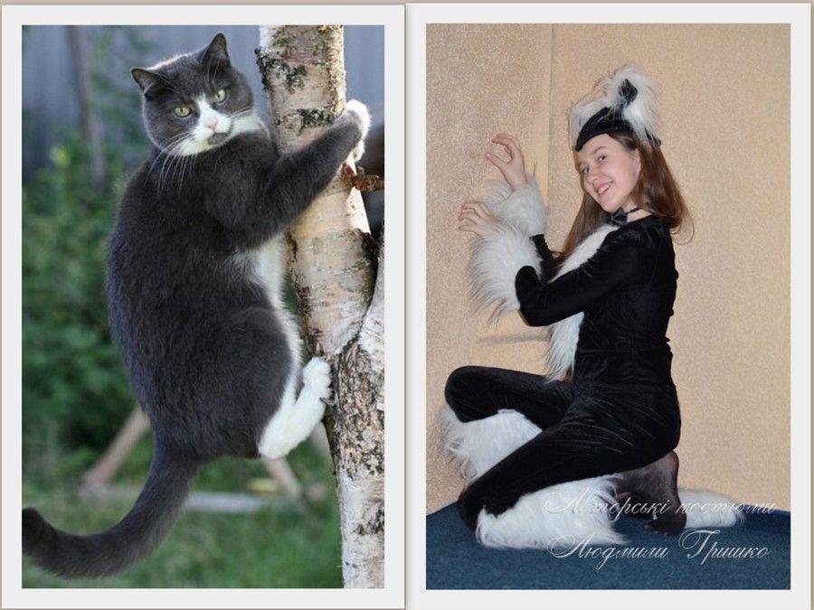 авторский карнавальный костюм Черная Кошка_146-164 фото с котом