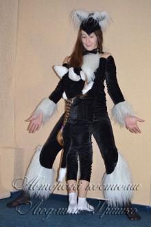 костюм кошки и котенка с белым мехом фото