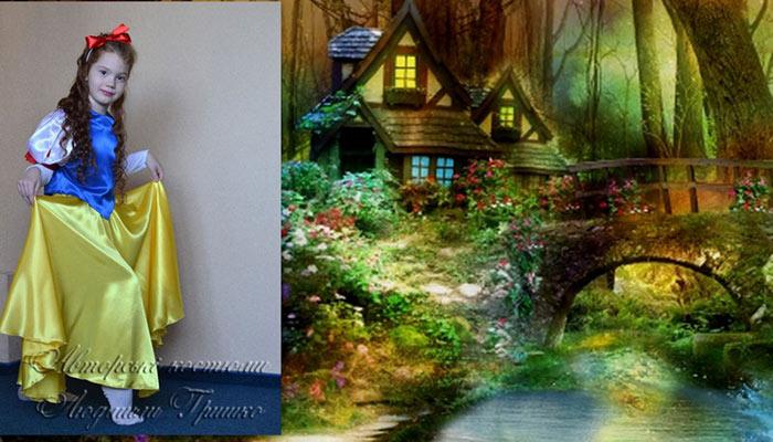 костюм белоснежки фото коллаж возле домика гномов
