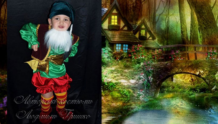 костюм гнома фото коллаж на фоне домика в лесу
