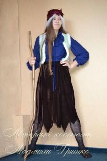 фото костюм Бабы яги в коричневой велюровой юбке