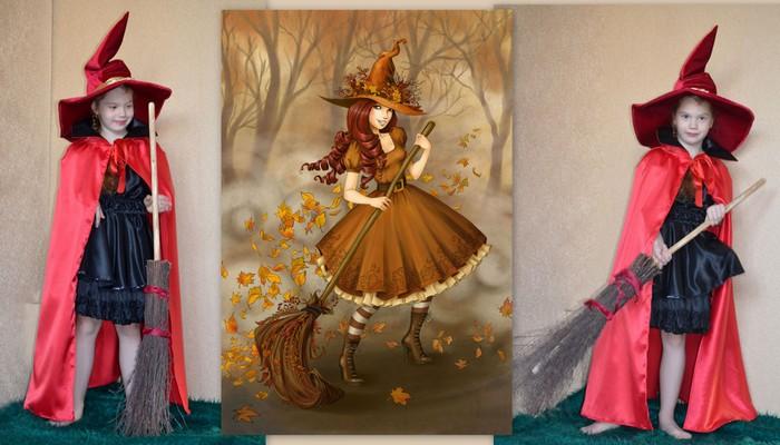 костюм колдуньи в красном карнавальный фото коллаж на фоне иллюстрации