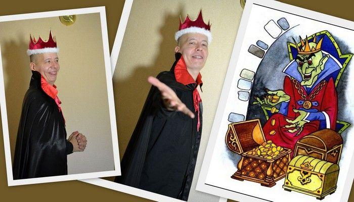 костюм кащея бессмертного на Halloween мужской фото коллаж на фоне открытки