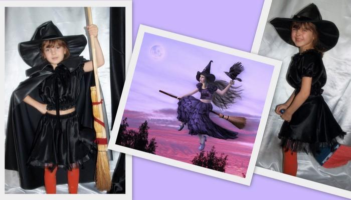 костюм колдуньи в черном детский фото коллаж на фоне открытки