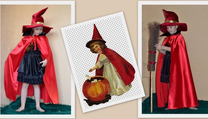 костюм ведьмочки для девочки на halloween фото коллаж костюма и открытки