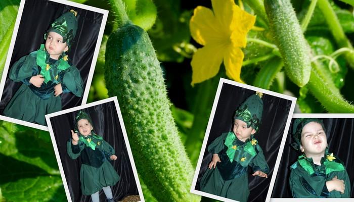 карнавальный детский костюм огурчика фото коллаж