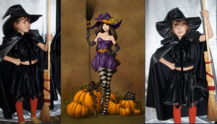 костюм колдуньи в черном плаще и шляпе фото коллаж на фоне иллюстрации