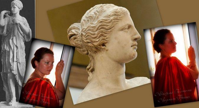 античный костюм венеры для женщин фото коллаж на фоне скульптур