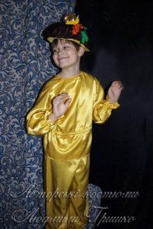 костюм гриба желтый атласный фото 4