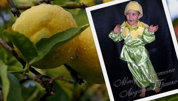 фото коллаж лимон и детский карнавальный костюм лимона