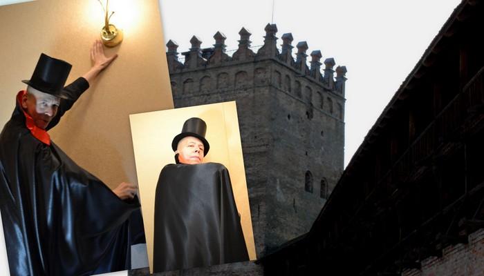костюм дракулы на halloween на фоне замка фото коллаж