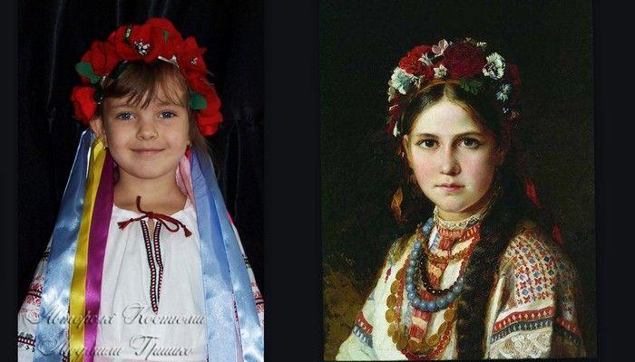 украинский костюм история, фото коллаж в венках
