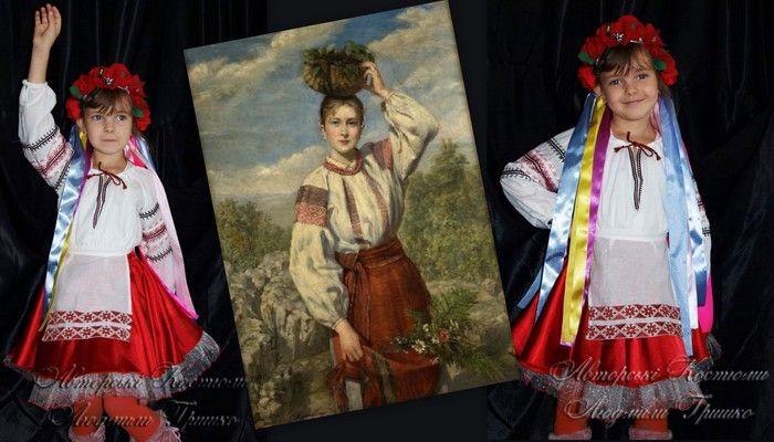 фото украинский костюм с иллюстрацией наряда в плахте и вышиванке
