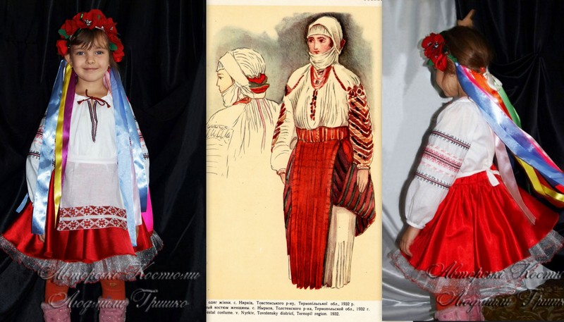 костюм украинки национальный, фото эскиза старинного наряда и карнавального костюма