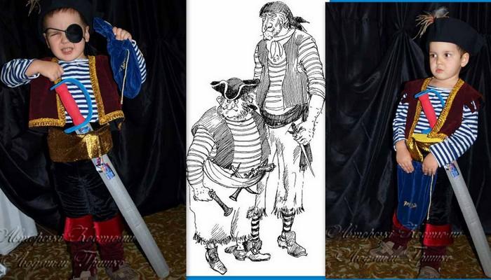 иллюстрация и костюм разбойника пирата фото коллаж