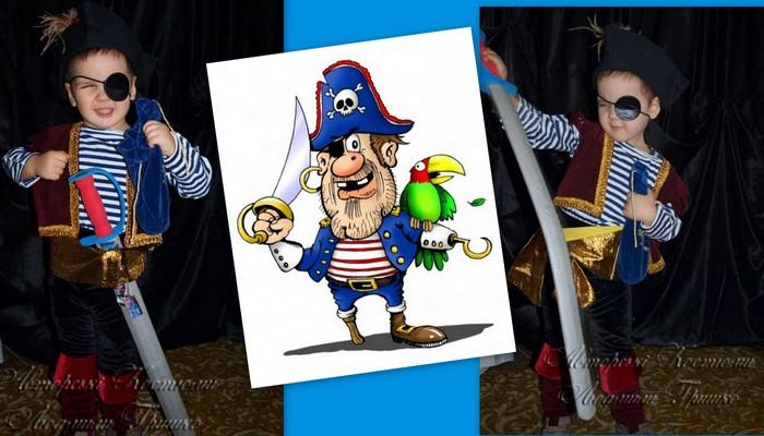 детский костюм разбойника пирата фото коллаж с Сильвером