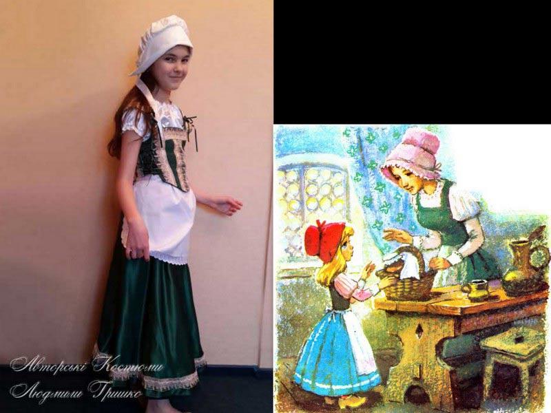 костюм мамы красной шапочки фото коллаж с иллюстрацией к сказке