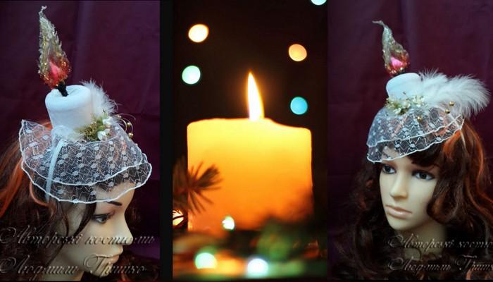 аксессуар ручной работы - свеча шляпка с вуалью фото коллаж 2