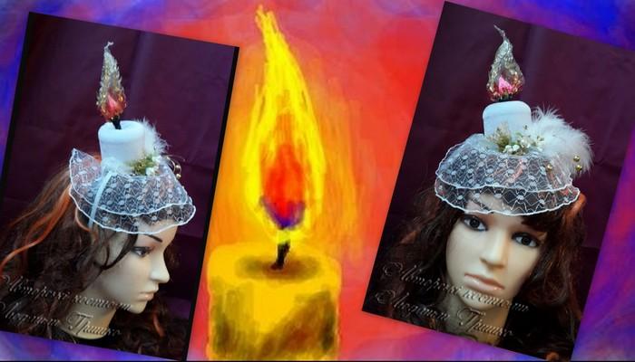 карнавальный аксессуар-свеча шляпка с вуалью фото коллаж 5