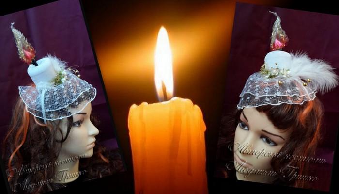 свеча шляпка с вуалью карнавальные аксессуары ручной работы 6