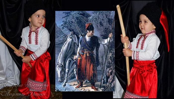 фото коллаж детского украинского костюма и иллюстрации