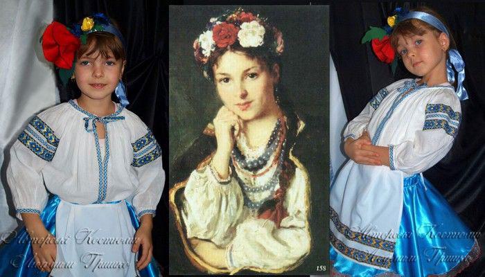 фото коллаж костюм украиночки и иллюстрация исторического костюма