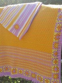 наволочка и плед ручного вязания для ребенка фото