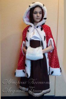 новогодний костюм Герды с муфтой фото в плаще с прорезями для рук