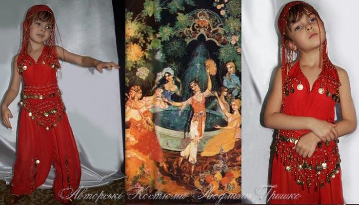 фото коллаж к сказке о принцессе Лейле, иллюстрация и карнавальный наряд