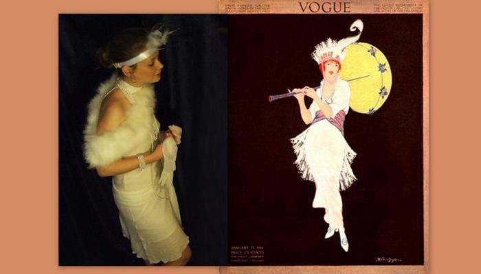 фото белое платье в стиле 20-х на фоне иллюстрации vogue