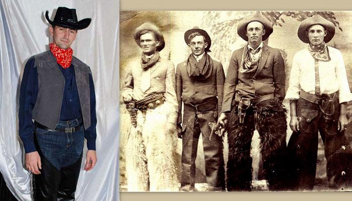 костюм ковбоя фото коллаж на фоне старинной фотографии