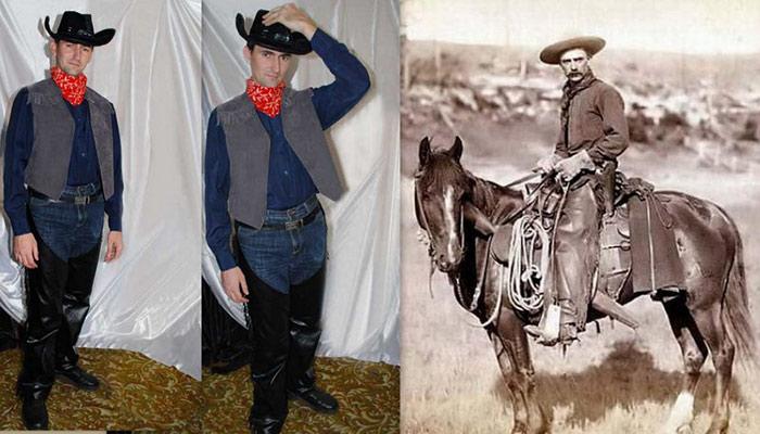 костюм ковбоя для взрослых фото на фоне старинной фотографии