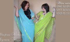 голубое сари индийский женский наряд