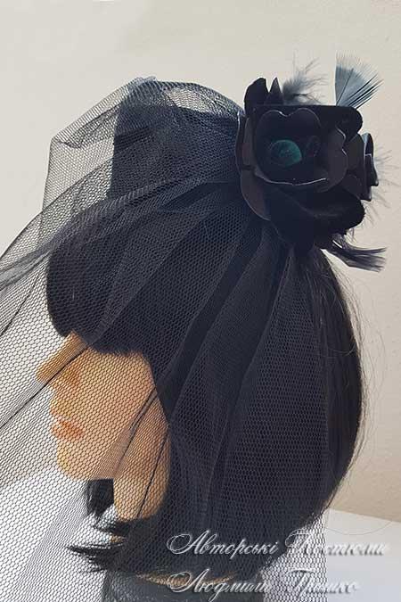 карнавальная черная шляпка вид сбоку
