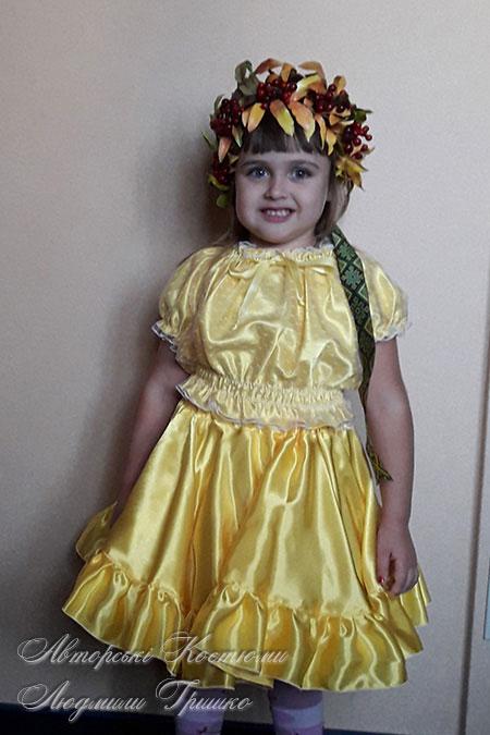 детский костюм рябины с венком ручной работы