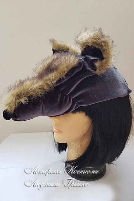 шапка волка из искусственного меха и трикотажа