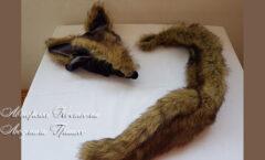 шапка и хвост волка из искусственного меха