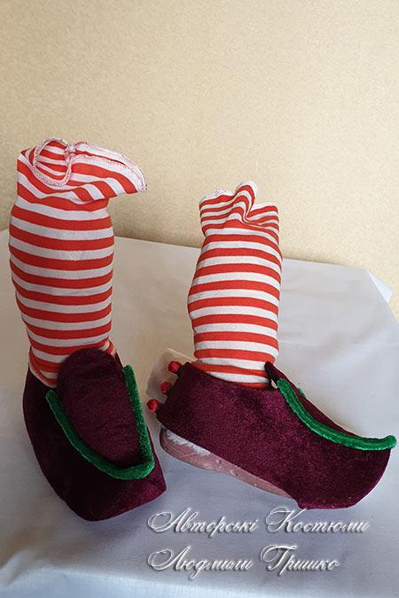 карнавальные башмаки с пуговками-ягодками для гнома