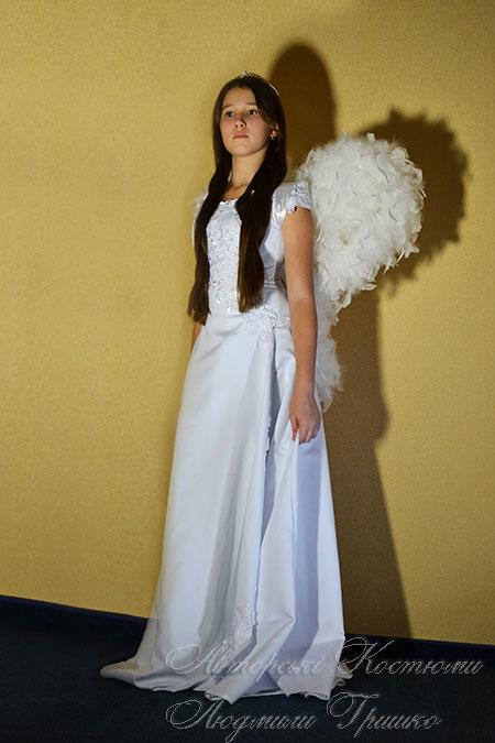 карнавальный костюм ангел с белыми крыльями