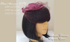 шляпка бордовая с вуалью