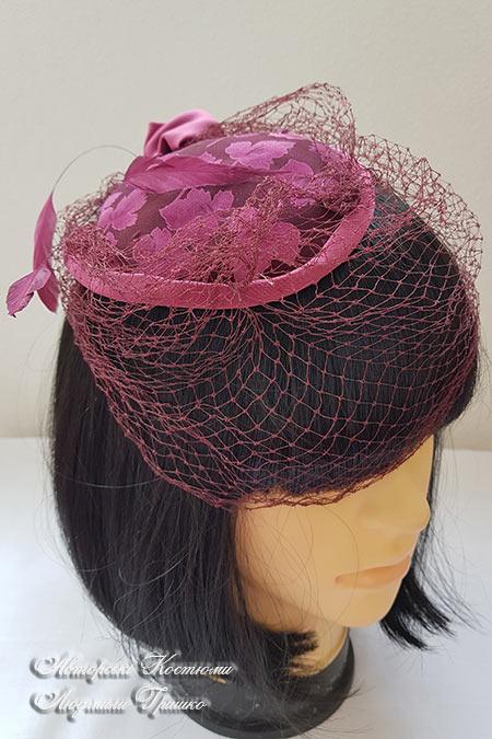шляпка винтажная с вуалью и перьями